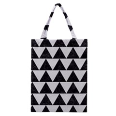 Triangle2 Black Marble & White Linen Classic Tote Bag by trendistuff