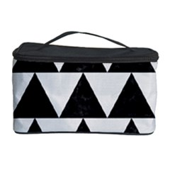 Triangle2 Black Marble & White Linen Cosmetic Storage Case by trendistuff