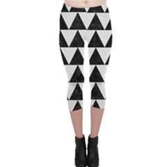 Triangle2 Black Marble & White Linen Capri Leggings  by trendistuff