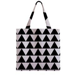 Triangle2 Black Marble & White Linen Zipper Grocery Tote Bag by trendistuff
