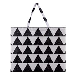 Triangle2 Black Marble & White Linen Zipper Large Tote Bag by trendistuff