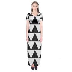 Triangle2 Black Marble & White Linen Short Sleeve Maxi Dress by trendistuff