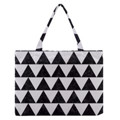 Triangle2 Black Marble & White Linen Zipper Medium Tote Bag by trendistuff