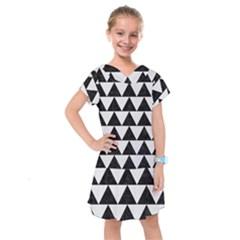 Triangle2 Black Marble & White Linen Kids  Drop Waist Dress by trendistuff