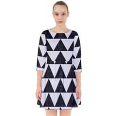 Triangle2 Black Marble & White Linen Smock Dress by trendistuff