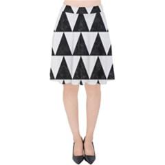 Triangle2 Black Marble & White Linen Velvet High Waist Skirt by trendistuff