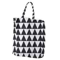 Triangle2 Black Marble & White Linen Giant Grocery Zipper Tote by trendistuff