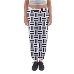Woven1 Black Marble & White Linen Women s Jogger Sweatpants by trendistuff