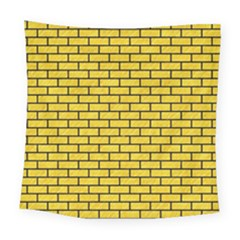 Brick1 Black Marble & Yellow Colored Pencil Square Tapestry (large)