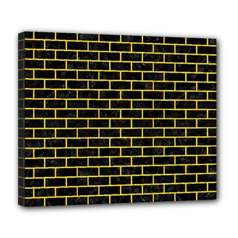 Brick1 Black Marble & Yellow Colored Pencil (r) Deluxe Canvas 24  X 20   by trendistuff