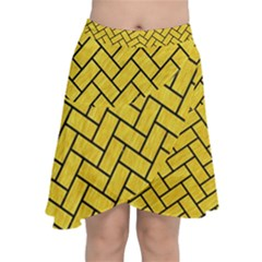 Brick2 Black Marble & Yellow Colored Pencil Chiffon Wrap by trendistuff
