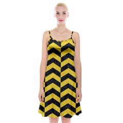 Chevron2 Black Marble & Yellow Colored Pencil Spaghetti Strap Velvet Dress