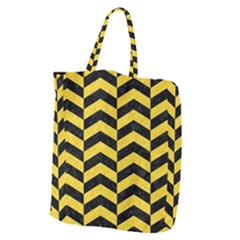 Chevron2 Black Marble & Yellow Colored Pencil Giant Grocery Zipper Tote by trendistuff