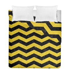 Chevron3 Black Marble & Yellow Colored Pencil Duvet Cover Double Side (full/ Double Size) by trendistuff