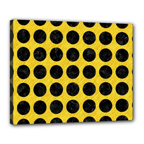 Circles1 Black Marble & Yellow Colored Pencil Canvas 20  X 16