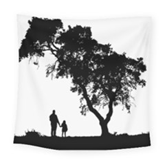 Black Father Daughter Natural Hill Square Tapestry (large) by Mariart