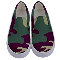 Camuflage Flag Green Purple Grey Kids  Canvas Slip Ons