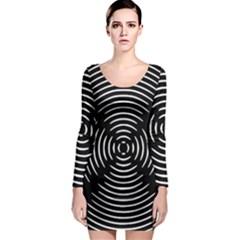 Gold Wave Seamless Pattern Black Hole Long Sleeve Bodycon Dress