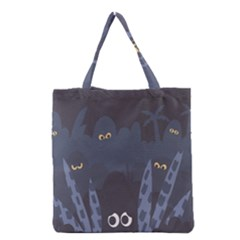 Ghost Halloween Eye Night Sinister Grocery Tote Bag by Mariart