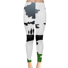 Landscape Silhouette Clipart Kid Abstract Family Natural Green White Leggings  by Mariart