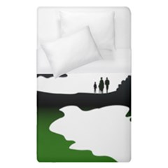 Landscape Silhouette Clipart Kid Abstract Family Natural Green White Duvet Cover (single Size) by Mariart