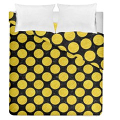 Circles2 Black Marble & Yellow Colored Pencil (r) Duvet Cover Double Side (queen Size) by trendistuff