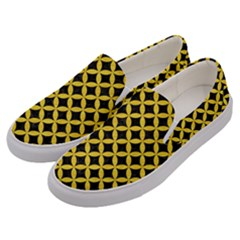 Circles3 Black Marble & Yellow Colored Pencil (r) Men s Canvas Slip Ons by trendistuff