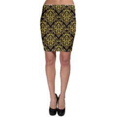 Damask1 Black Marble & Yellow Colored Pencil (r) Bodycon Skirt