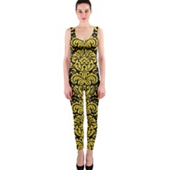 Damask2 Black Marble & Yellow Colored Pencil (r) Onepiece Catsuit by trendistuff