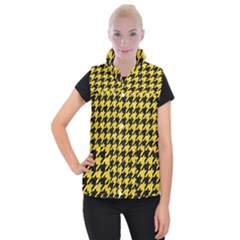 Houndstooth1 Black Marble & Yellow Colored Pencil Women s Button Up Puffer Vest