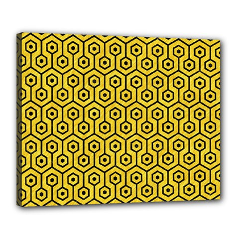 Hexagon1 Black Marble & Yellow Colored Pencil Canvas 20  X 16  by trendistuff