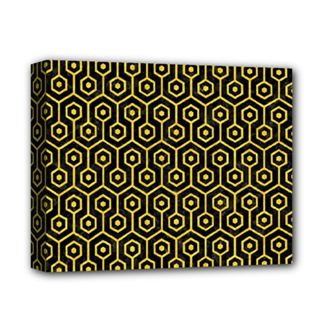 Hexagon1 Black Marble & Yellow Colored Pencil (r) Deluxe Canvas 14  X 11  by trendistuff