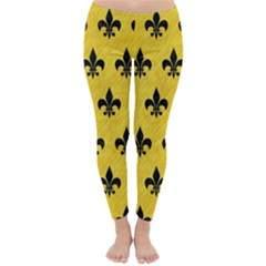 Royal1 Black Marble & Yellow Colored Pencil (r) Classic Winter Leggings by trendistuff