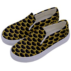 Scales3 Black Marble & Yellow Colored Pencil (r) Kids  Canvas Slip Ons by trendistuff