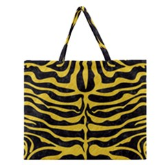 Skin2 Black Marble & Yellow Colored Pencil (r) Zipper Large Tote Bag by trendistuff