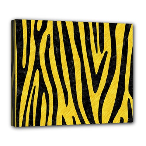 Skin4 Black Marble & Yellow Colored Pencil (r) Deluxe Canvas 24  X 20   by trendistuff