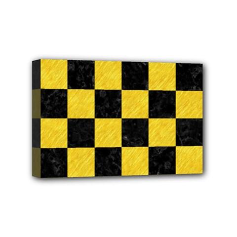 Square1 Black Marble & Yellow Colored Pencil Mini Canvas 6  X 4  by trendistuff