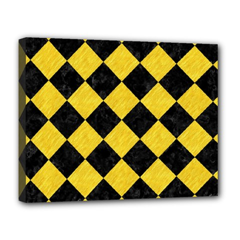 Square2 Black Marble & Yellow Colored Pencil Canvas 14  X 11  by trendistuff