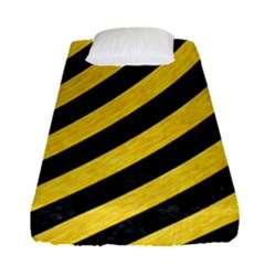 Stripes3 Black Marble & Yellow Colored Pencil (r) Fitted Sheet (single Size) by trendistuff