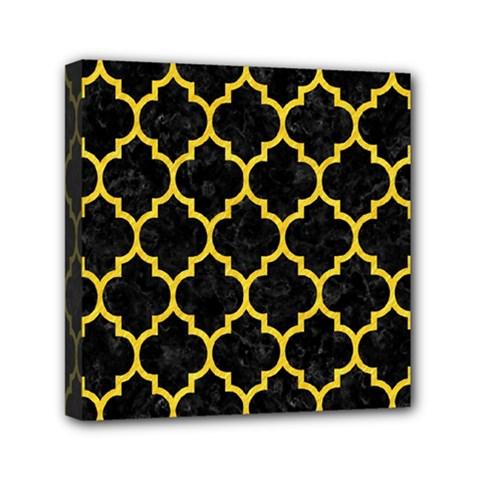 Tile1 Black Marble & Yellow Colored Pencil (r) Mini Canvas 6  X 6  by trendistuff