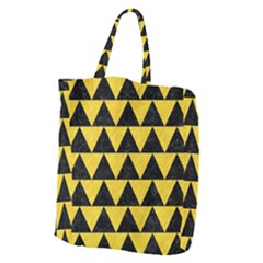 Triangle2 Black Marble & Yellow Colored Pencil Giant Grocery Zipper Tote by trendistuff