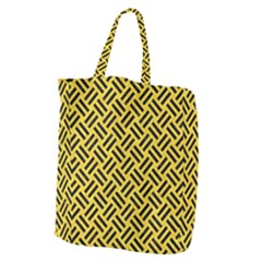 Woven2 Black Marble & Yellow Colored Pencil Giant Grocery Zipper Tote by trendistuff