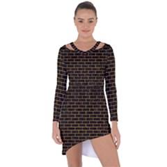 Brick1 Black Marble & Yellow Grunge (r) Asymmetric Cut Out Shift Dress