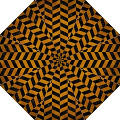 Chevron1 Black Marble & Yellow Grunge Hook Handle Umbrellas (medium) by trendistuff