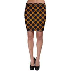 Circles2 Black Marble & Yellow Grunge Bodycon Skirt