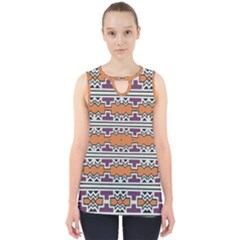 Purple And Brown Shapes                                  Cut Out Tank Top