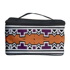 Purple And Brown Shapes                                  Cosmetic Storage Case by LalyLauraFLM