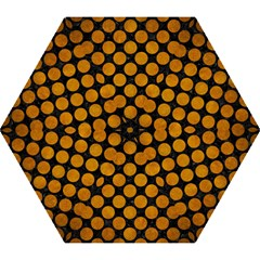 Circles2 Black Marble & Yellow Grunge (r) Mini Folding Umbrellas by trendistuff