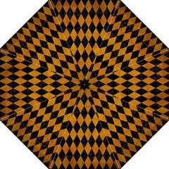 Diamond1 Black Marble & Yellow Grunge Folding Umbrellas by trendistuff