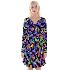 Colorful Paint Strokes On A Black Background                                   Long Sleeve Front Wrap Dress